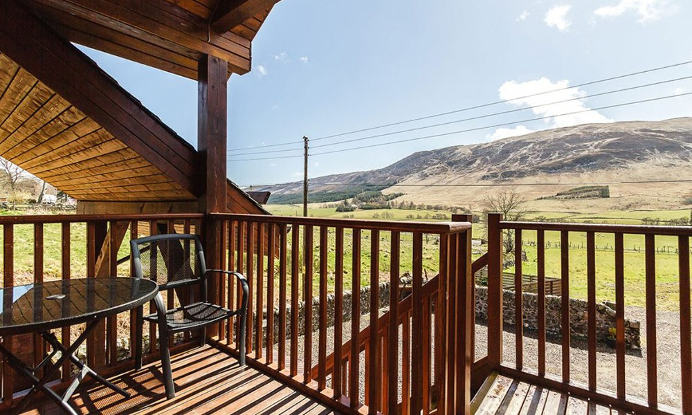 Accommodation - Luxury Lodges with Hot Tubs - view from upstairs terrace in 3 bedroom lodge