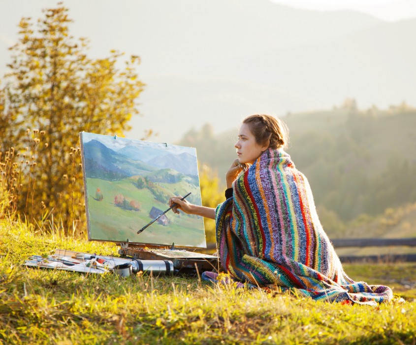 Adventures photography Young Artist Painting a Landscape