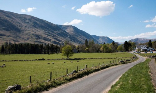The road to Glen Clova hotel
