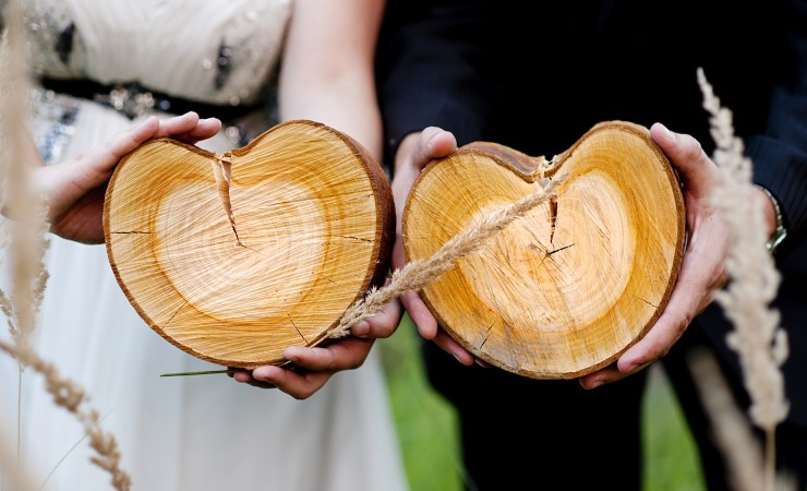Canva Bride and Groom with Logs