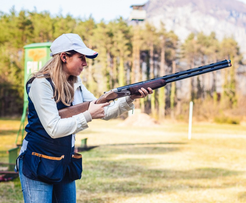 Adventures Clay pigeon shoot Young Lady Playing Skeet v2
